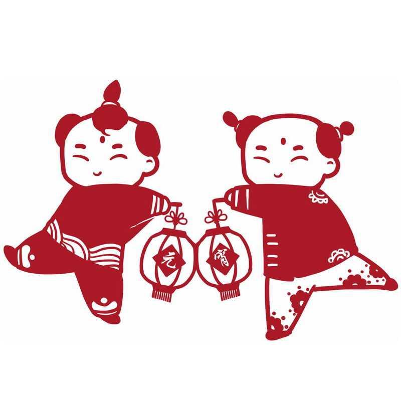 元宵节卡通童男童女打灯笼红色剪纸贴纸4286612图片免抠素材