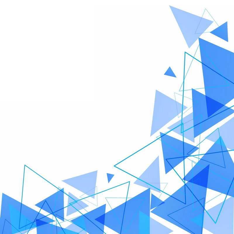 蓝色三角形边框色块装饰3819047图片免抠素材
