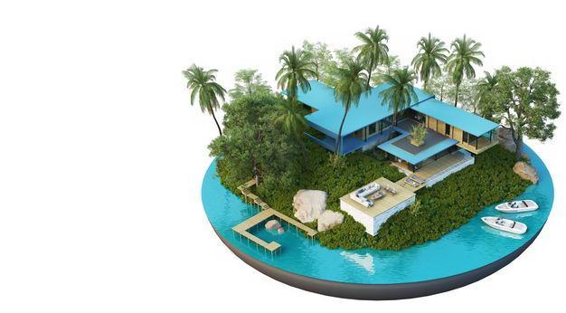 3D立体风格带码头的旅游景点豪华别墅民宿装修效果图1864341免抠图片素材 建筑装修-第1张
