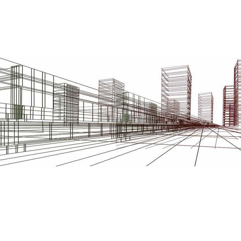 勾勒的线条组成的城市建筑4101376图片免抠素材