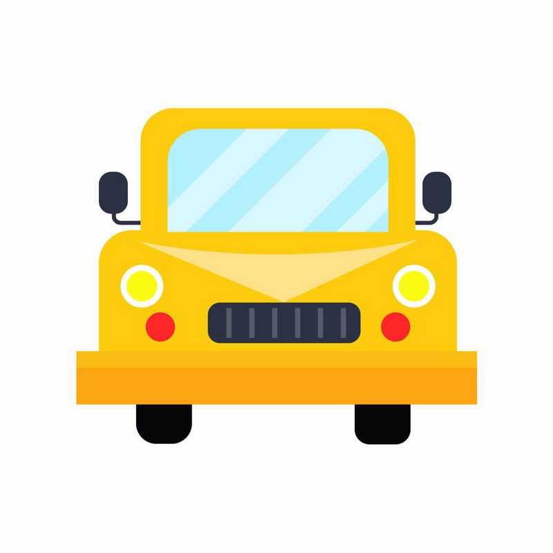扁平化风格卡通黄色校车汽车正面图4944949ai矢量图片免抠素材