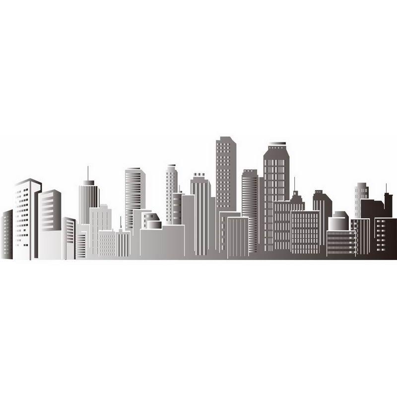 灰色的城市建筑剪影城市天际线7471956png图片免抠素材 建筑装修-第1张