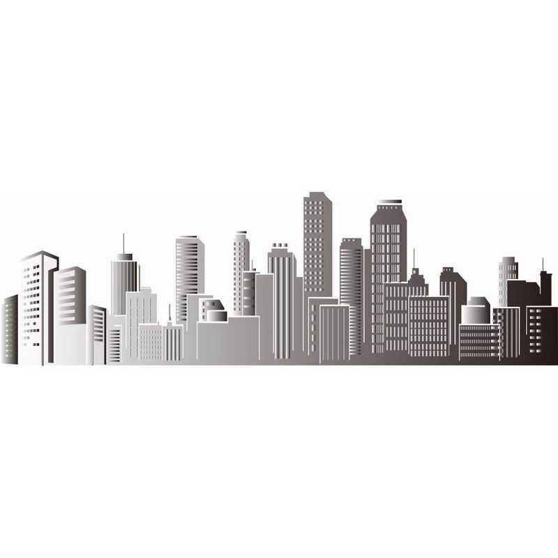 灰色的城市建筑剪影城市天际线7471956png图片免抠素材