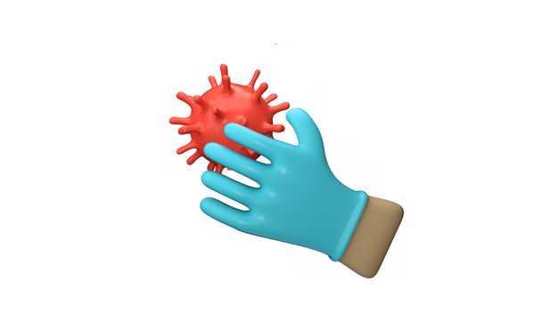 蓝色3D橡胶手套和红色病毒4133810免抠图片素材