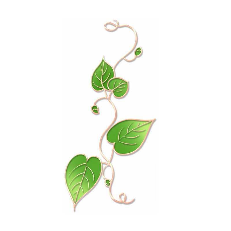 中国风金丝包边风格绿色的树叶藤蔓叶片4514564图片免抠素材