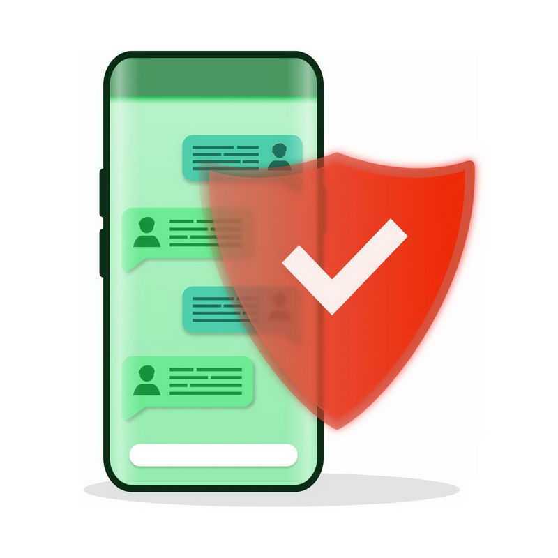 手机和红色防护盾象征了手机安全隐私保护等9549546图片免抠素材