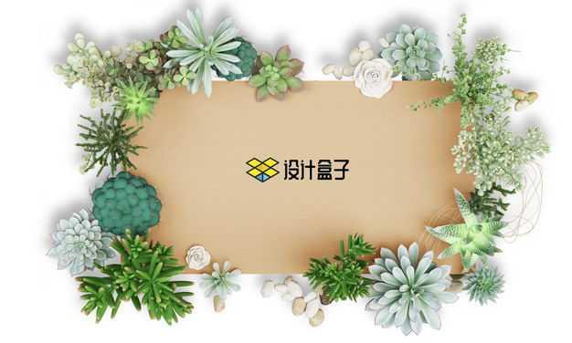 各种多肉植物组成的文本框标题框9757426免抠图片素材