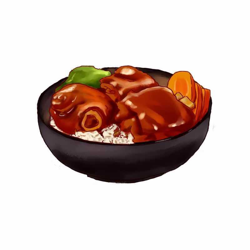 一碗美味的酱排骨米饭手绘插画2146725png图片免抠素材