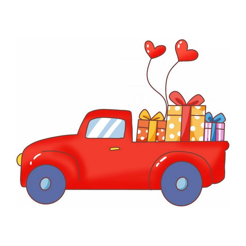 红色的卡通汽车上装满了礼物情人节插画3558842图片免抠素材 交通运输-第1张