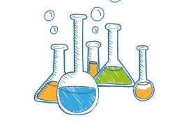 彩色手绘涂鸦风格试管锥形瓶烧瓶等化学实验插画4323929PSD图片免抠素材