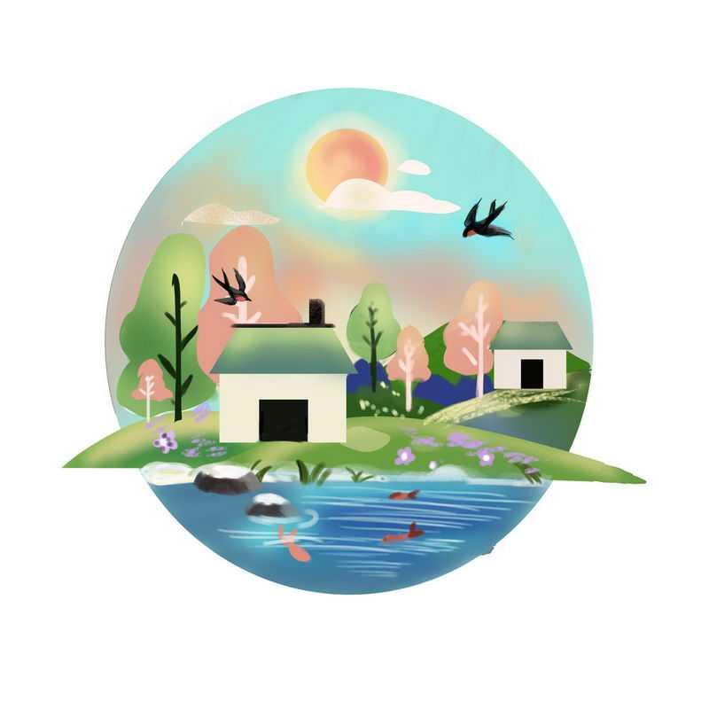 中国风乡村小屋池塘风景图4295307图片免抠素材