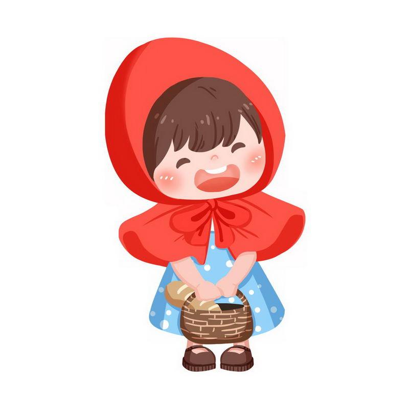 蓝点裙子小红帽卡通小女孩童话人物插画7843562图片免抠素材 人物素材-第1张