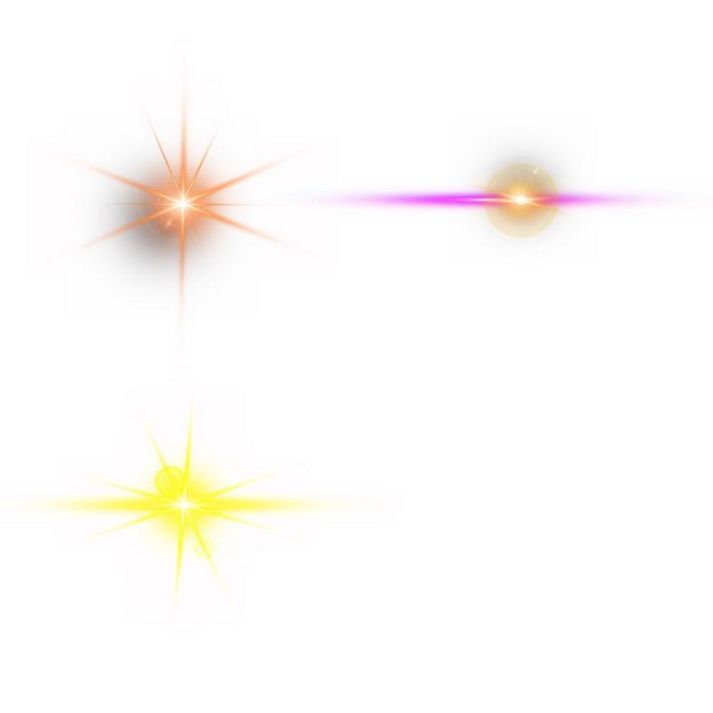 3款橙色玫红色黄色光芒光晕发光效果5287045图片免抠素材 效果元素-第1张