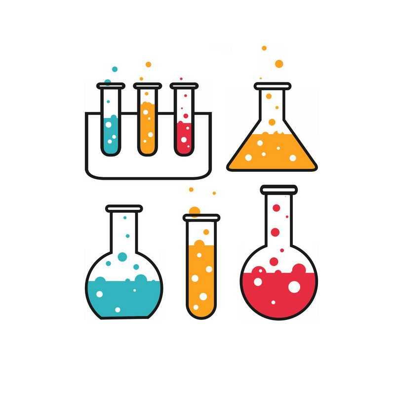 4款扁平化风格试管锥形瓶烧瓶等彩色化学实验仪器1387362PSD图片免抠素材