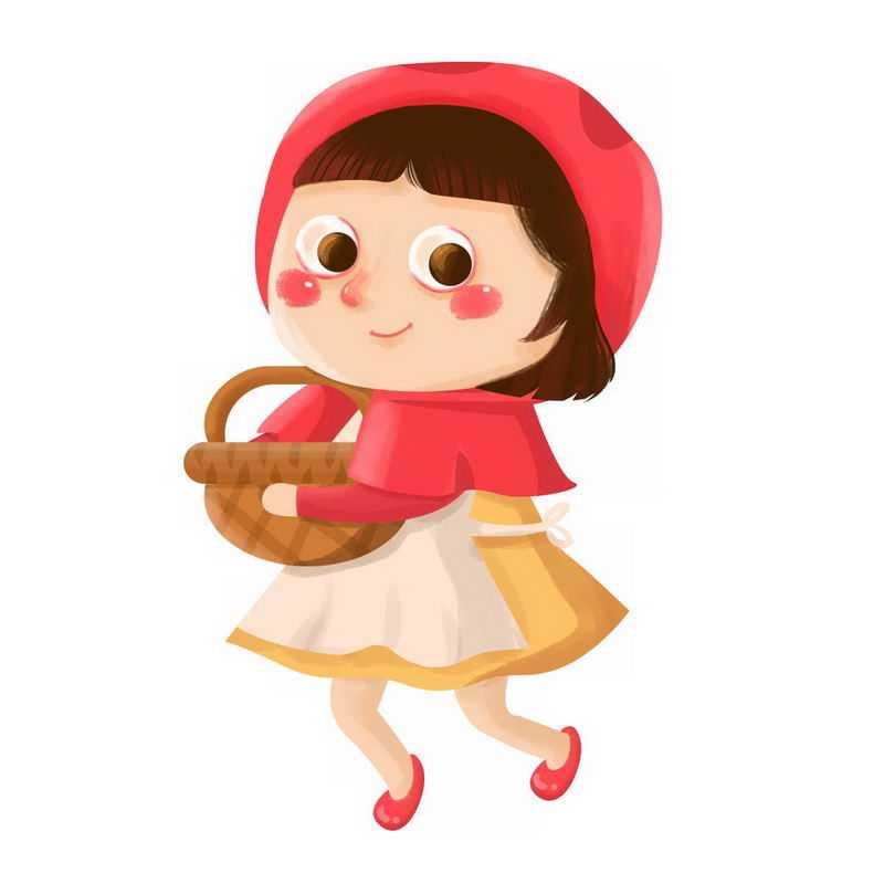 抱着篮子的小红帽卡通小女孩童话人物插画0545613图片免抠素材