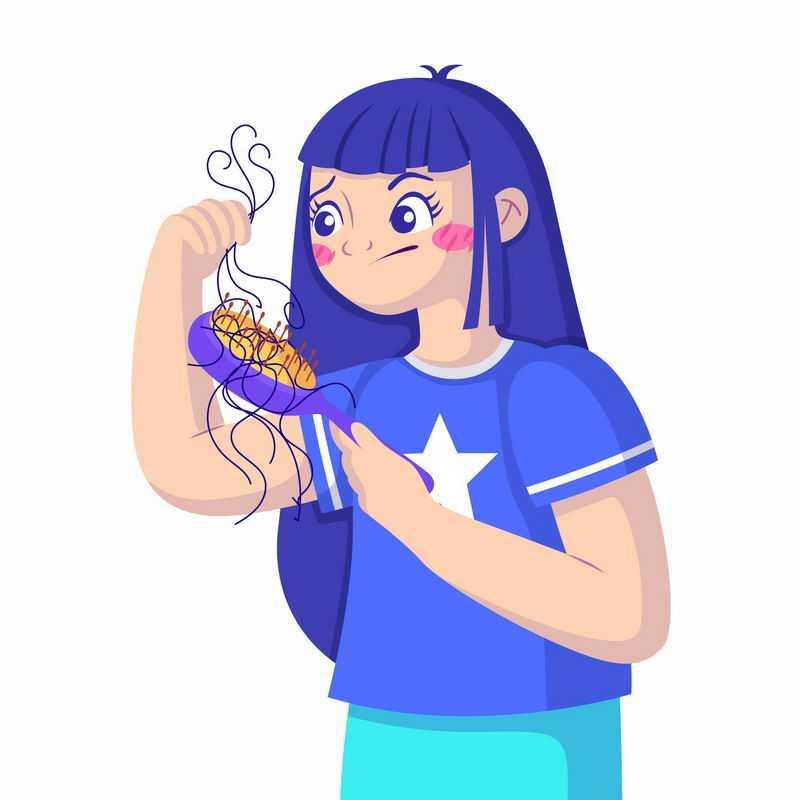 卡通女孩梳头发脱发掉发严重插画5129149图片免抠素材
