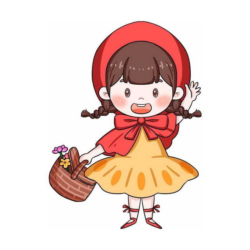 提着篮子挥手打招呼的小红帽卡通小女孩童话人物插画9754753图片免抠素材