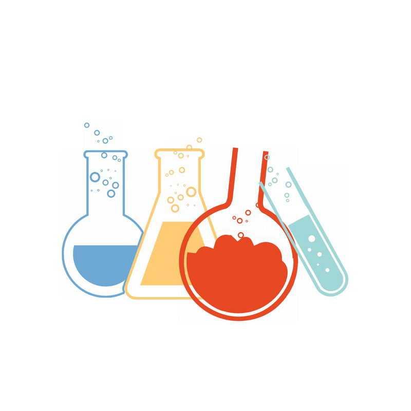 扁平化风格的试管烧瓶等彩色化学实验仪器1998929PSD图片免抠素材