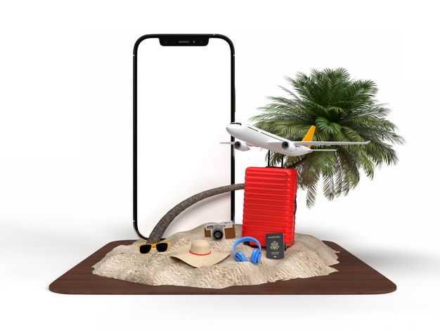 手机显示样机和飞机旅行箱绿色观赏植物沙滩等热带旅游元素7505699免抠图片素材