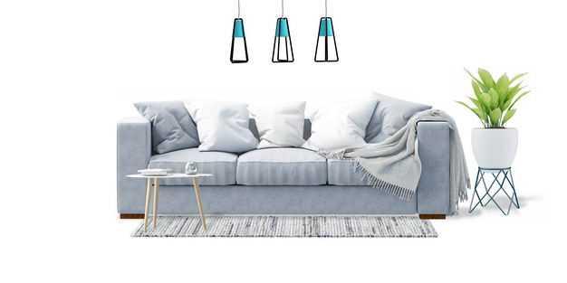 简约风格灰色三人沙发布艺沙发地毯和茶几花盆吊灯8689430免抠图片素材