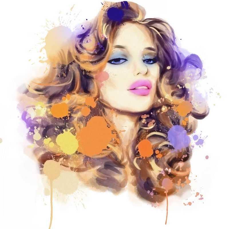 泼墨风格抽象高傲美女头像3656355图片免抠素材