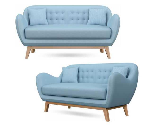 两个不同角度的天蓝色布艺沙发三人沙发6080794免抠图片素材