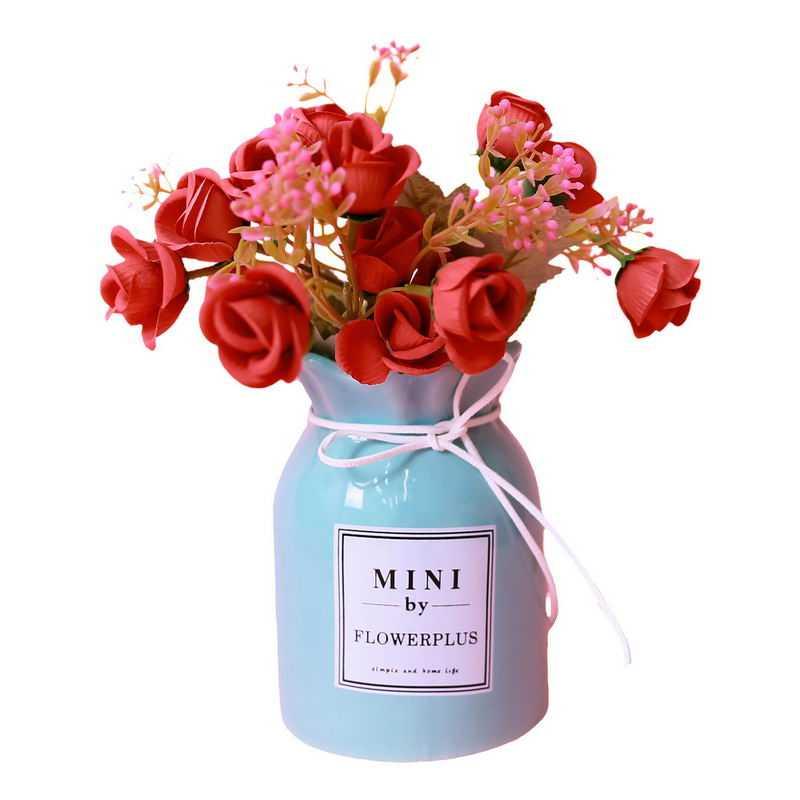 蓝色花瓶中的红玫瑰花鲜花插花艺术3127500png图片免抠素材