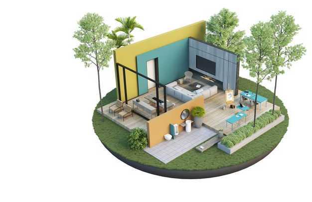 3D立体风格豪华别墅的客厅书房装修效果图3323763免抠图片素材