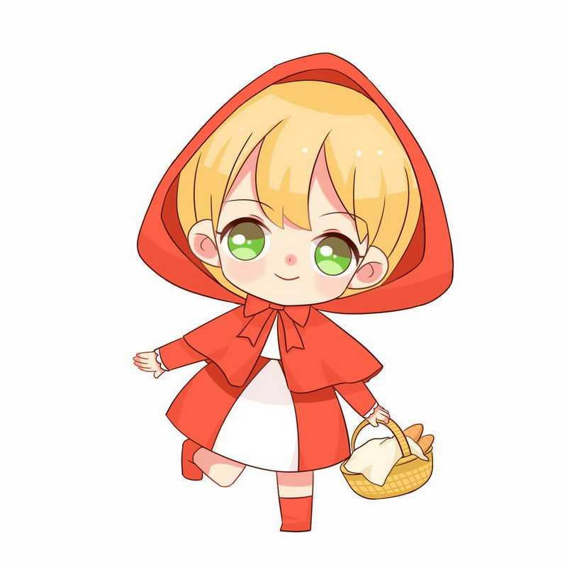 拎着篮子快乐的小红帽卡通小女孩童话人物插画1943786图片免抠素材