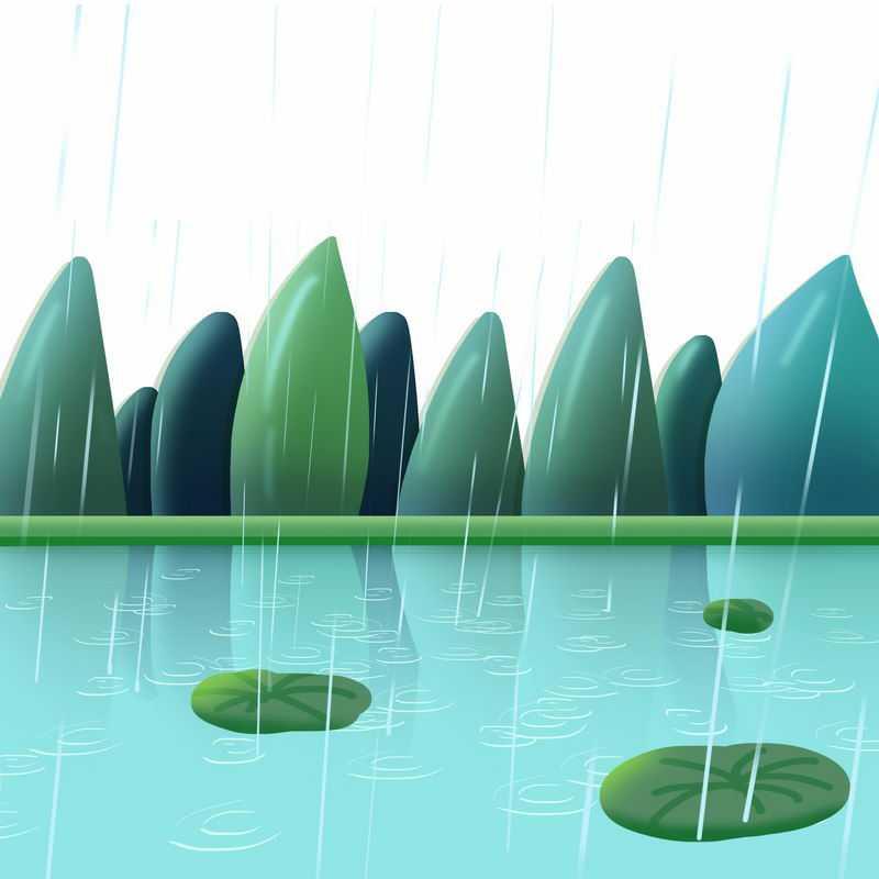 春天下雨的池塘和远山春意盎然风景画9543469图片免抠素材