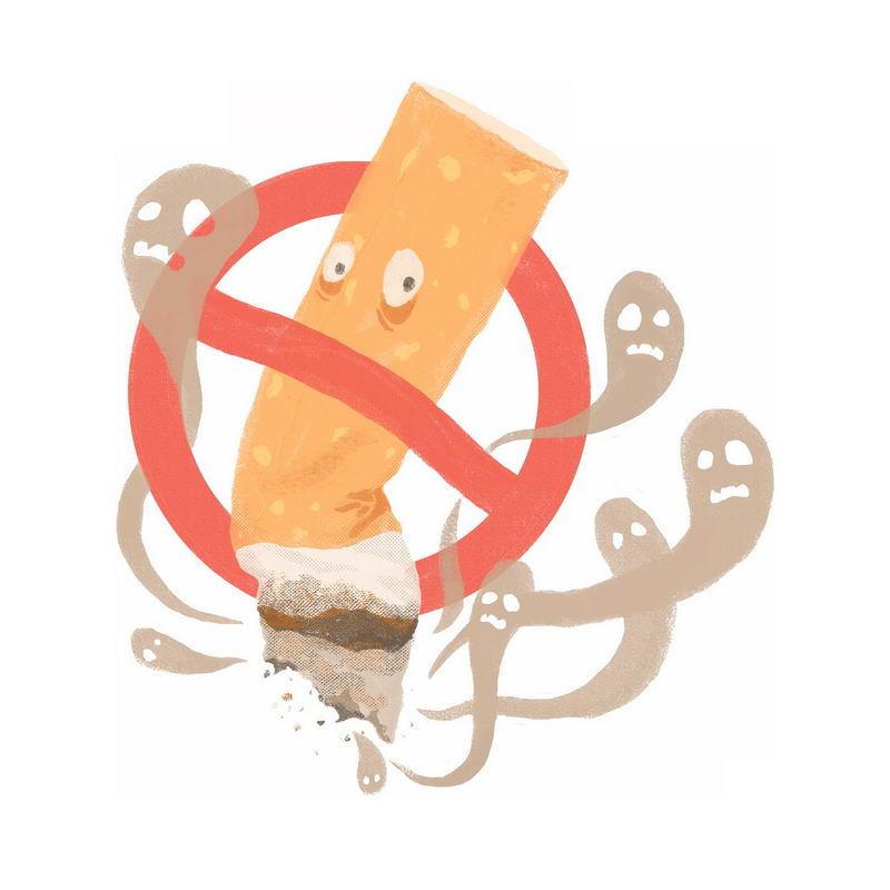 吸烟有害健康禁止抽烟卡通宣传插画7702882图片免抠素材 健康医疗-第1张