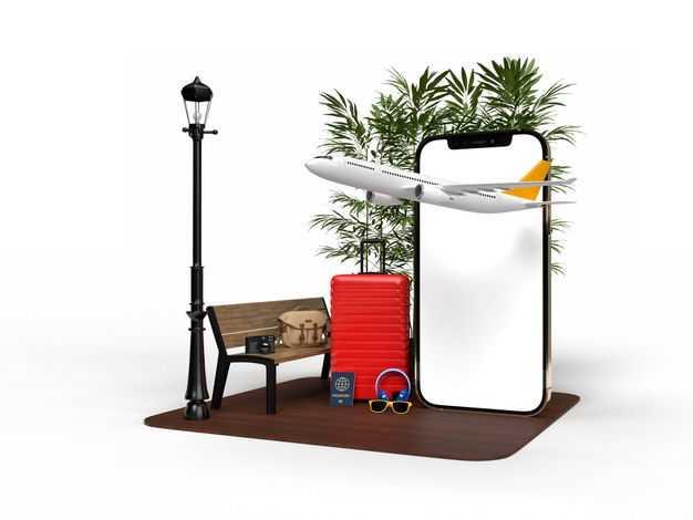 手机显示样机和飞机旅行箱长椅路灯等热带旅游元素8904111免抠图片素材