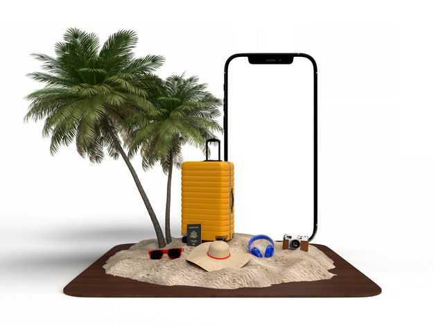 手机显示样机和旅行箱椰子树绿色观赏植物沙滩等热带旅游元素4720081免抠图片素材