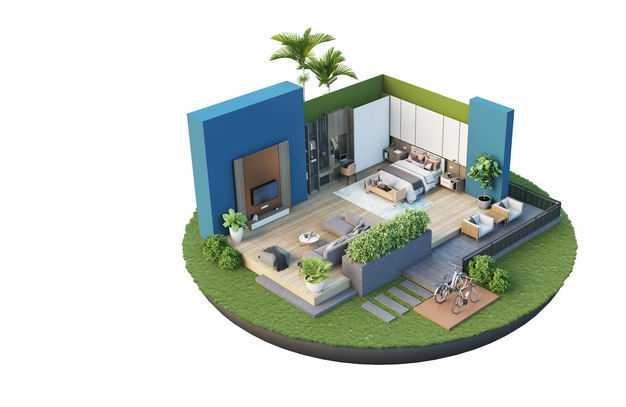 3D立体风格豪华别墅带会客厅的开放式卧室装修效果图2416588免抠图片素材