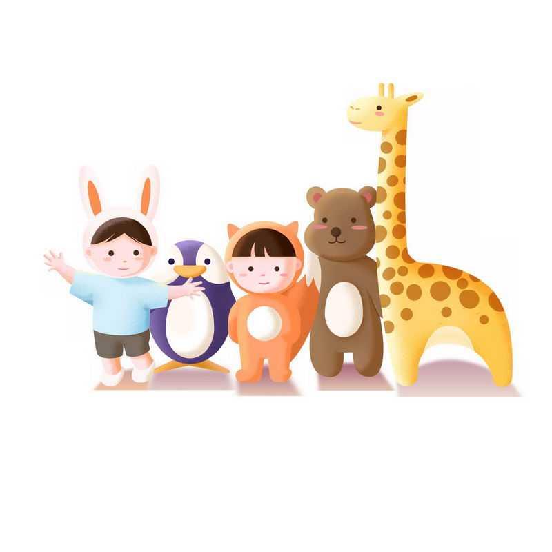 超可爱的卡通孩子小企鹅小熊和长颈鹿2499972图片免抠素材