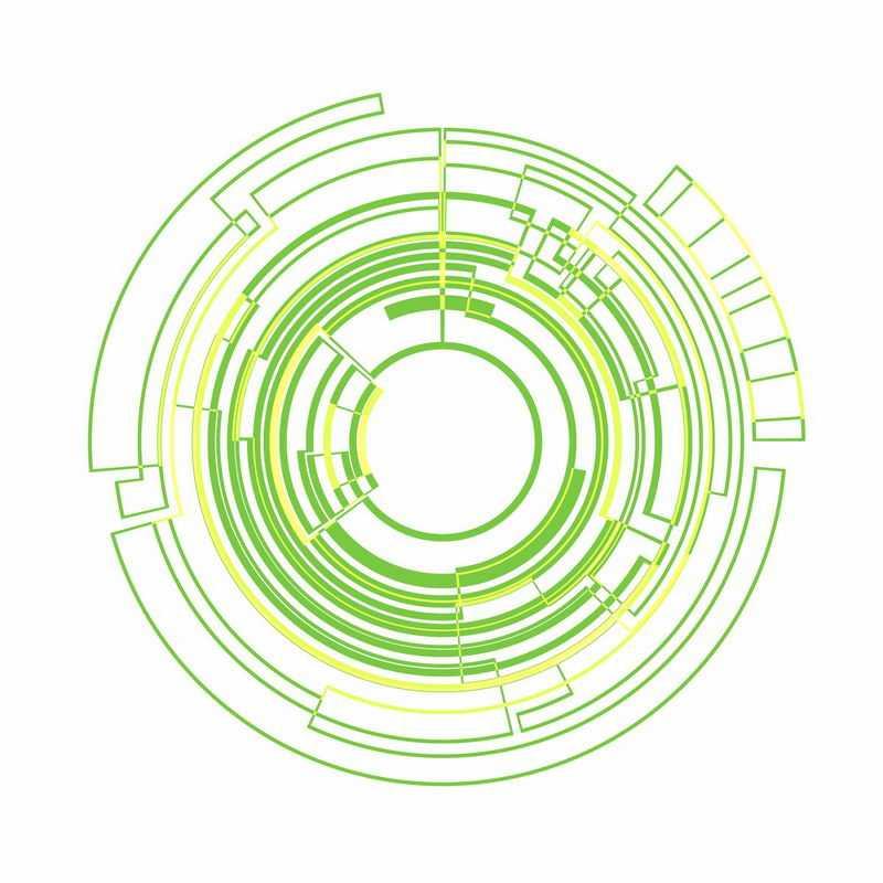 绿色黄色线条组成的圆环图案结构9963840ai矢量图片免抠素材