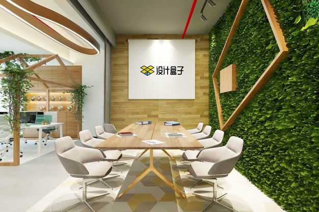 现代装修的办公室墙壁上的挂画装饰画显示样机2695079图片素材