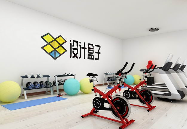 现代装修的健身房墙壁上的文字LOGO显示样机8268119图片素材 样机-第1张