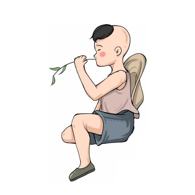 咬着树枝的卡通小男孩牧童6378785图片免抠素材