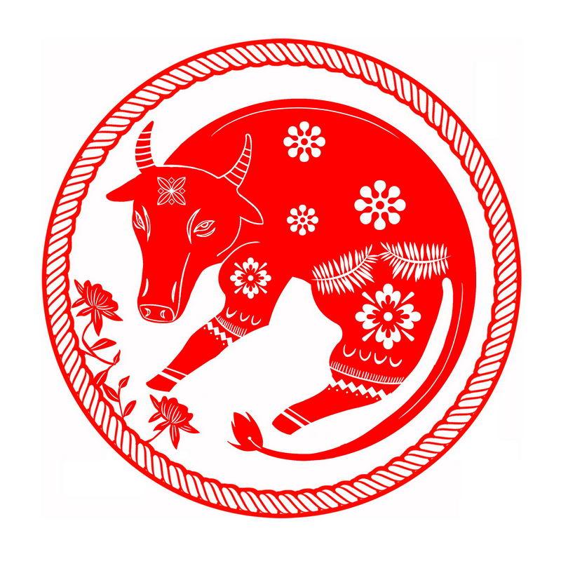 2021年牛年红色剪纸图案9995892图片免抠素材 节日素材-第1张