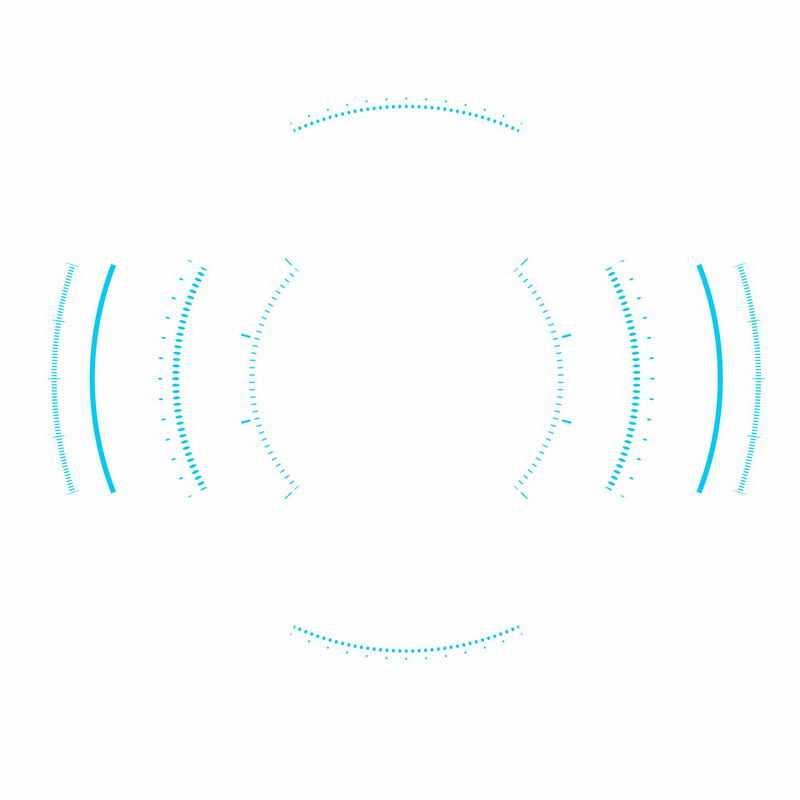 蓝色带刻度的短线组成的科技科幻风格圆环装饰3096770ai矢量图片免抠素材