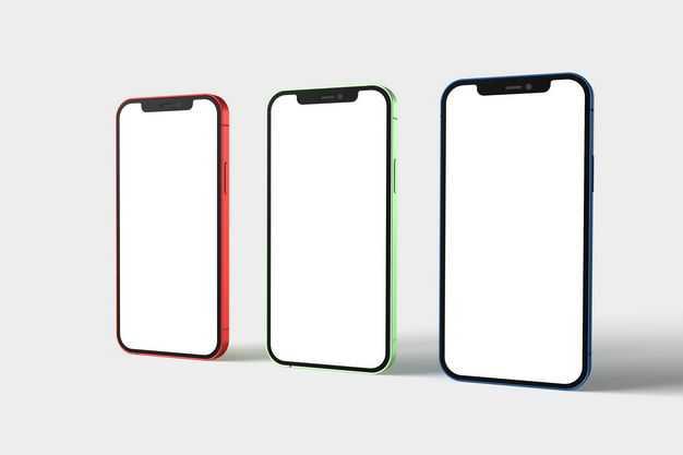三种颜色的苹果手机iPhone12显示样机8757820免抠图片素材
