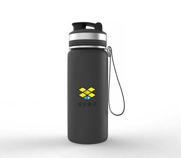 一款黑色304不锈钢真空保温杯运动水壶包装显示样机9274904免抠图片素材