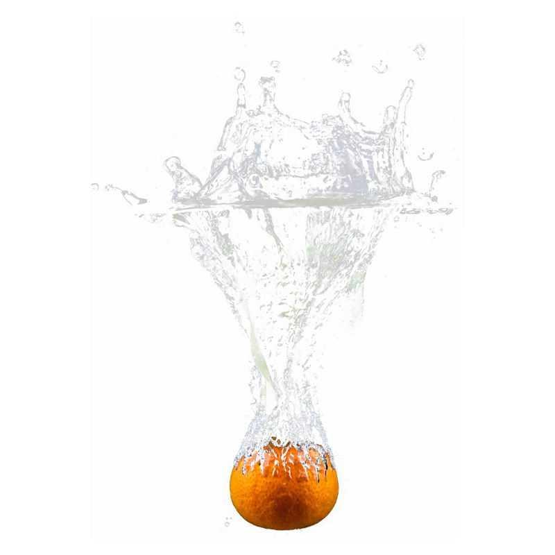 橘子掉落水中飞溅起来的半透明水花浪花水效果6987949png图片免抠素材