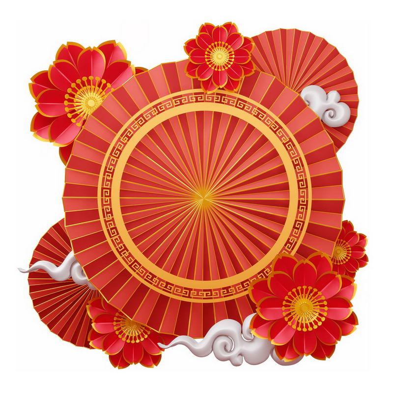 中国风新年春节红色文本框装饰框4056957图片免抠素材 节日素材-第1张