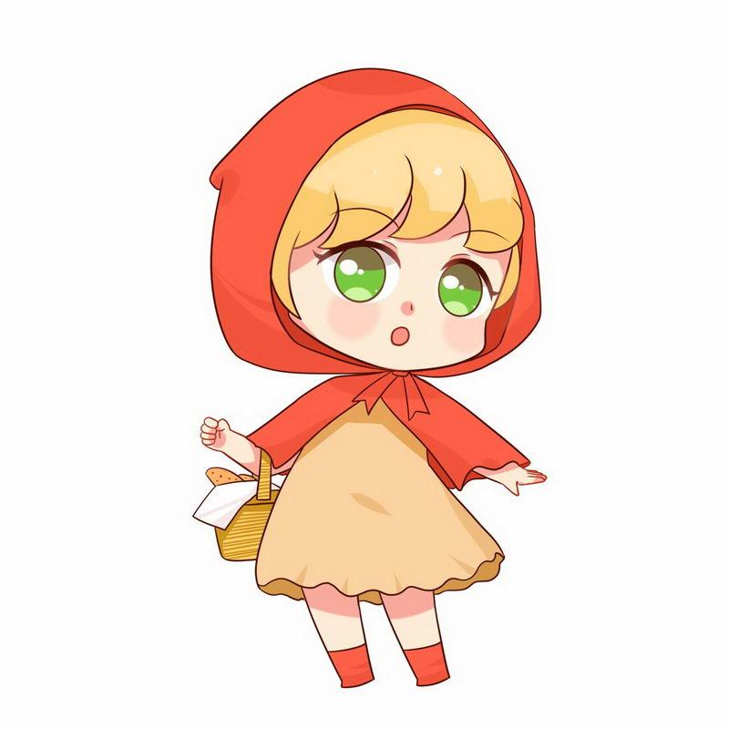 挎着篮子的小红帽卡通小女孩童话人物插画9874375图片免抠素材 人物素材-第1张