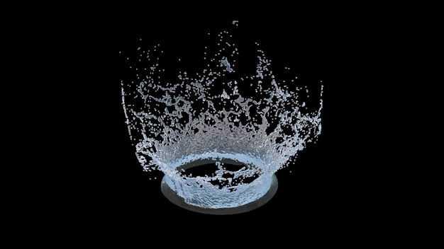 淡蓝色水花飞溅喷溅效果745792png图片免抠素材