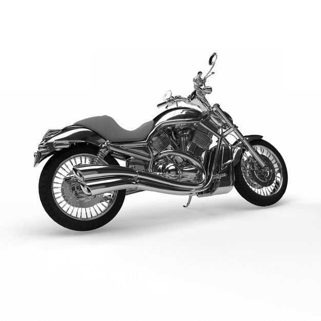一辆不锈钢的运动摩托车重机车侧视图3945919免抠图片素材