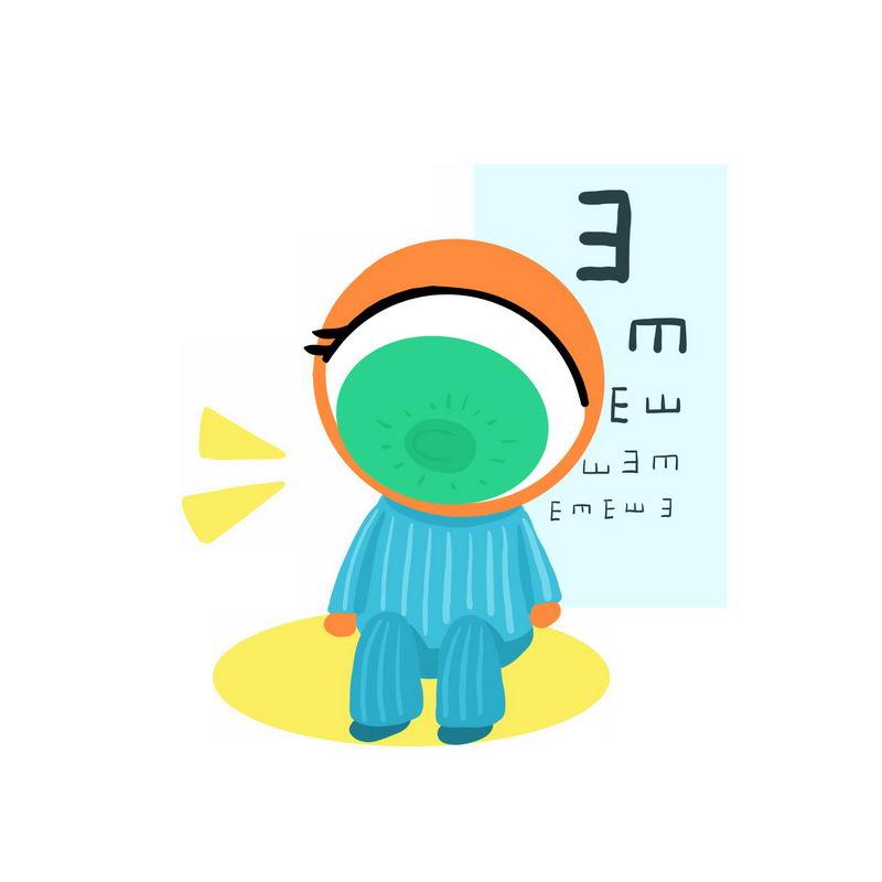 卡通病人正在用视力表测试视力9694700图片免抠素材 健康医疗-第1张