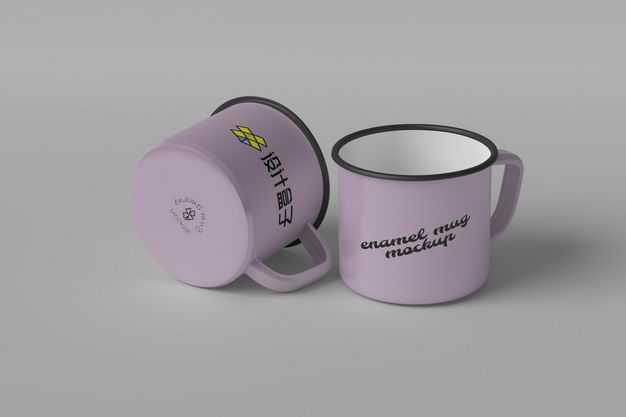 两款紫色的搪瓷杯子怀旧杯子显示样机5466997图片素材